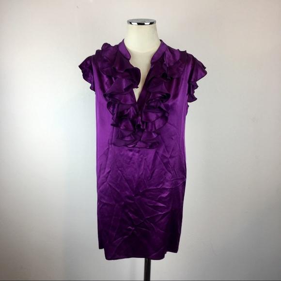 23b6e473187b3 Amanda Uprichard Tops - Amanda Uprichard Super Ruffled Purple Silk Tunic P